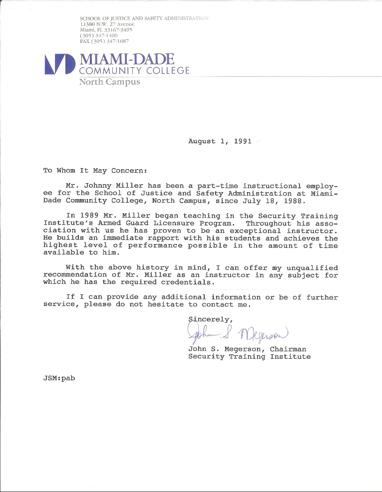 letter of recommendation for trainer bush tactics training center
